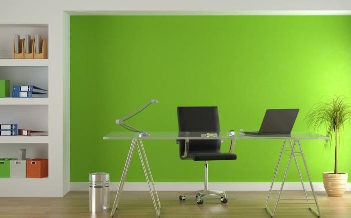 grüne-wand-als-akzent-im-büro-interessante-wandfarben-ideen