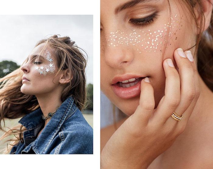 Idee für Last Minute Halloween Make-up, Glitzer und kleine Sterne an den Wangen, Galaxie Schminke