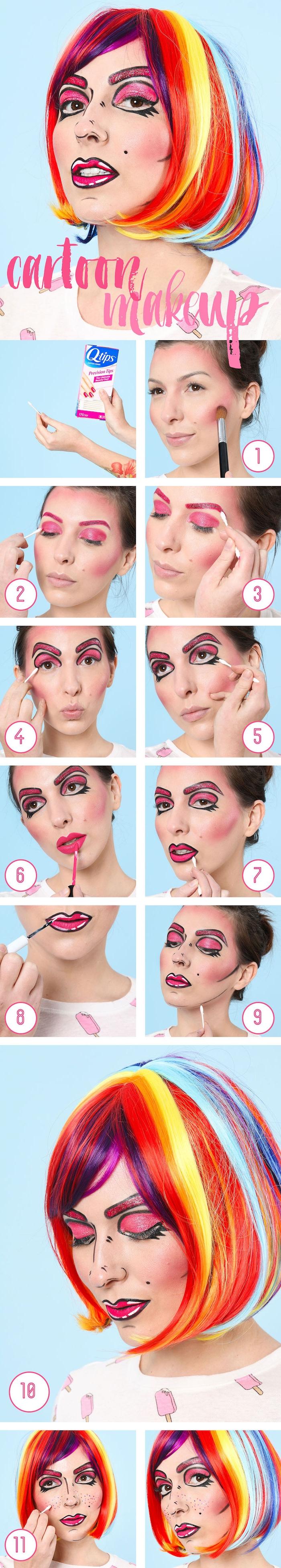 Cartoon Make-up zum Nachmachen, Anleitung in elf Schritten, Halloween Schminken Ideen