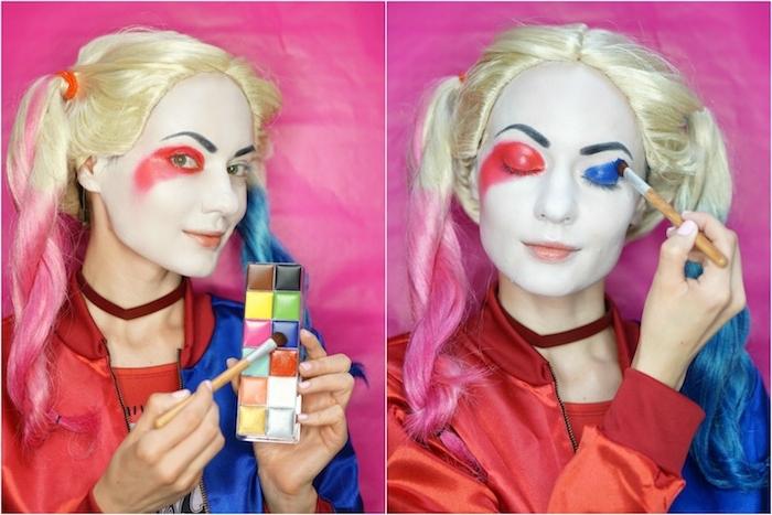 Harley Quinn Schminke zum Nachmachen, blauen und roten Lidschatten auftragen