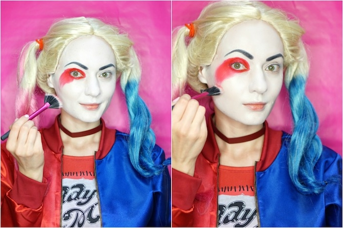 Harley Quinn schminken Schritt für Schritt, roten und blauen Lidschatten auftragen