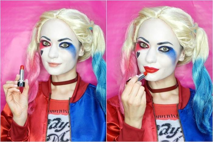 Harley Quinn schminken leicht gemacht, Schritt für Schritt Anleitung, roten Lippenstift auftragen