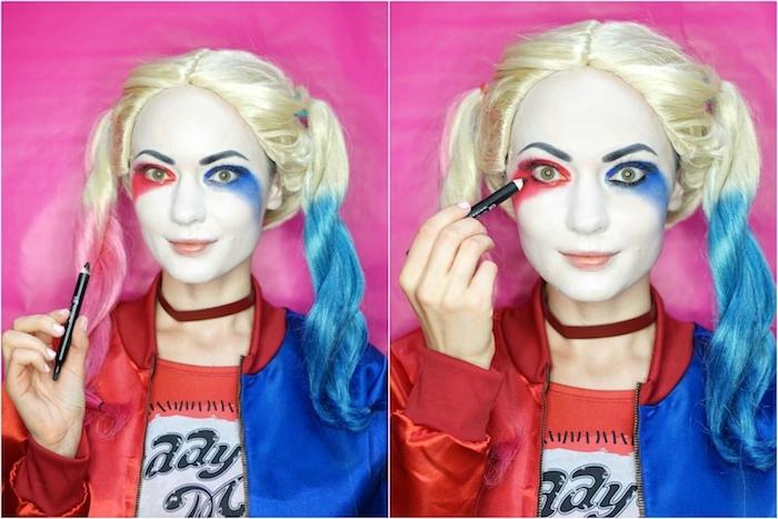 Anleitung für Harley Quinn Make-up, schwarzen Eyeliner auftragen, roten und blauen Lidschatten