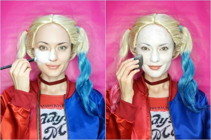 Harley Quinn Schminke selber machen, weißes Gesicht, Haare in Blau und Rot