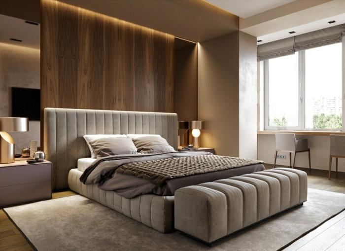 ideen für schlafzimmer kleines zimmer dekorieren großes graues bett hölzerne wand mit beleuchtung zimmerbeleuchtung