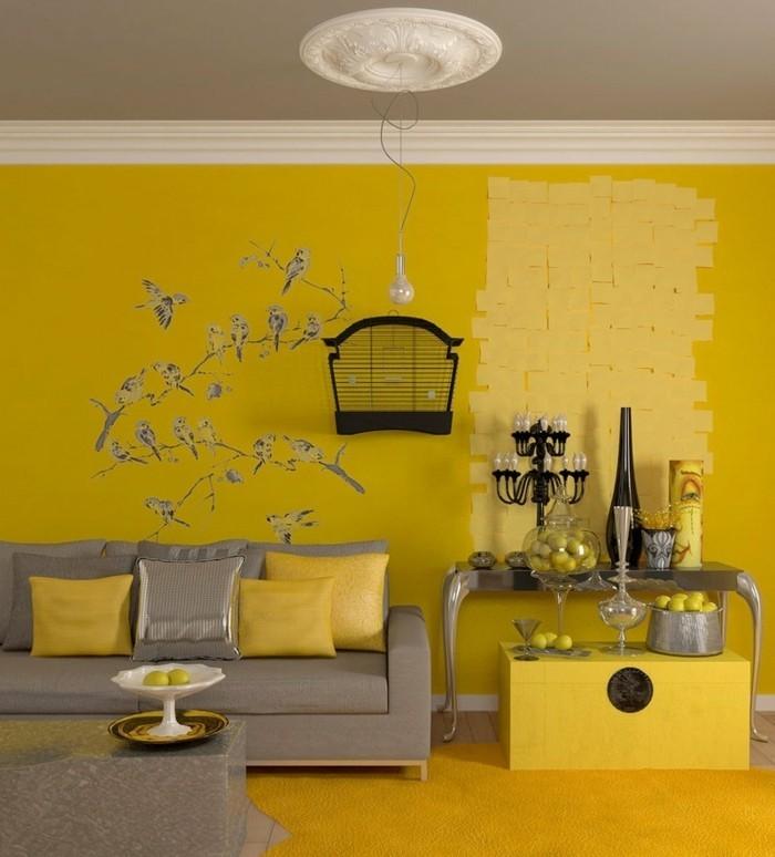 interessante-grelle-wandfarben-modernes-wohnzimmer