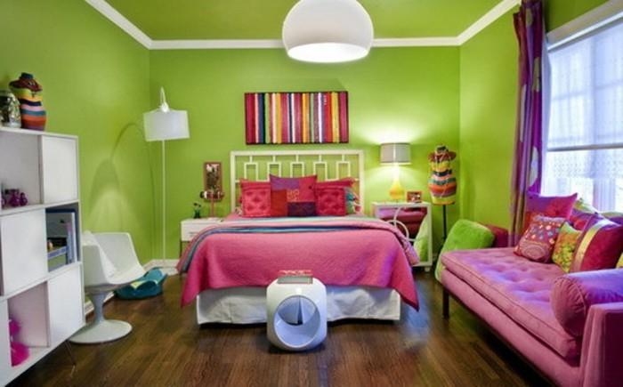 interessante-wandfarben-ideen-grünes-mädchenzimmer
