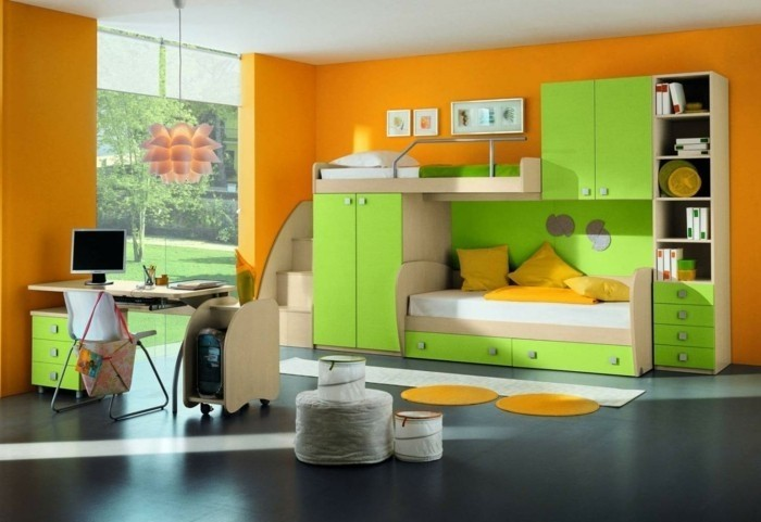 interessantes-kinderzimmer-gestalten-in-grün-und-orange-wandfarben-vorschläge
