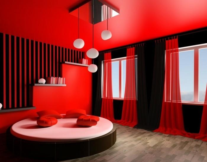 luxus-schlafzimmer-einrichten-extravagante-wandfarben-ideen-rot-überall