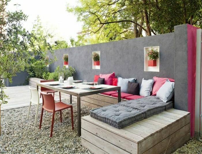 Moderne Gartengestaltung Integrierte Topfpflanzen Garten Sitzecke