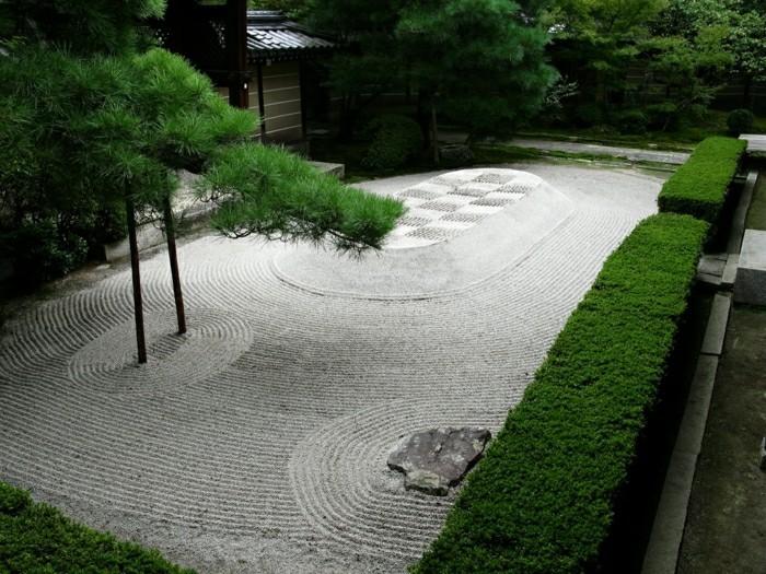 moderne-gartengestaltung-kies-verlegt-und-grüne-hecke