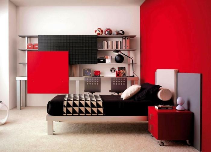 modernes-schickes-schlafzimmer-in-weiß-und-rot-wandfarben-vorschläge