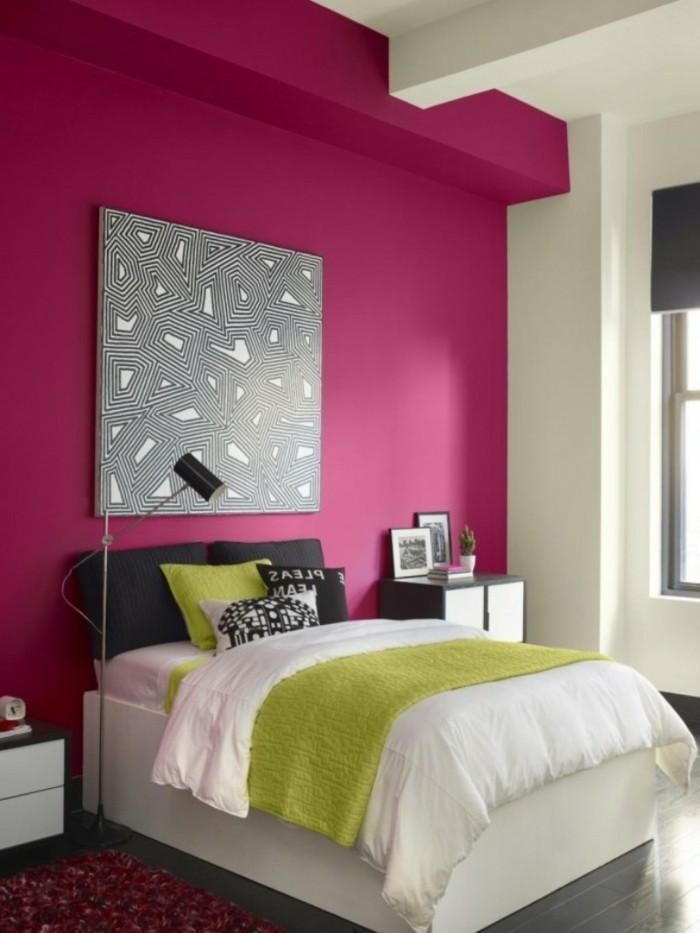 originelle-wandfarben-ideen-rosige-wand-im-mädchenzimmer