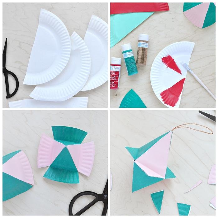 papier basteln, diy bastelanleitungen, chstibaumschmuck aus papiertellern selber machen