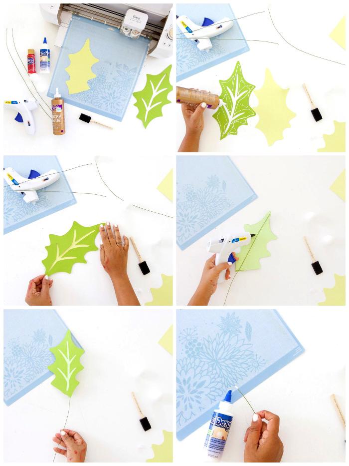 papier basteln, blätter aus bastelkarton ausschneiden, vorlage ausrucken, schritt für schritt