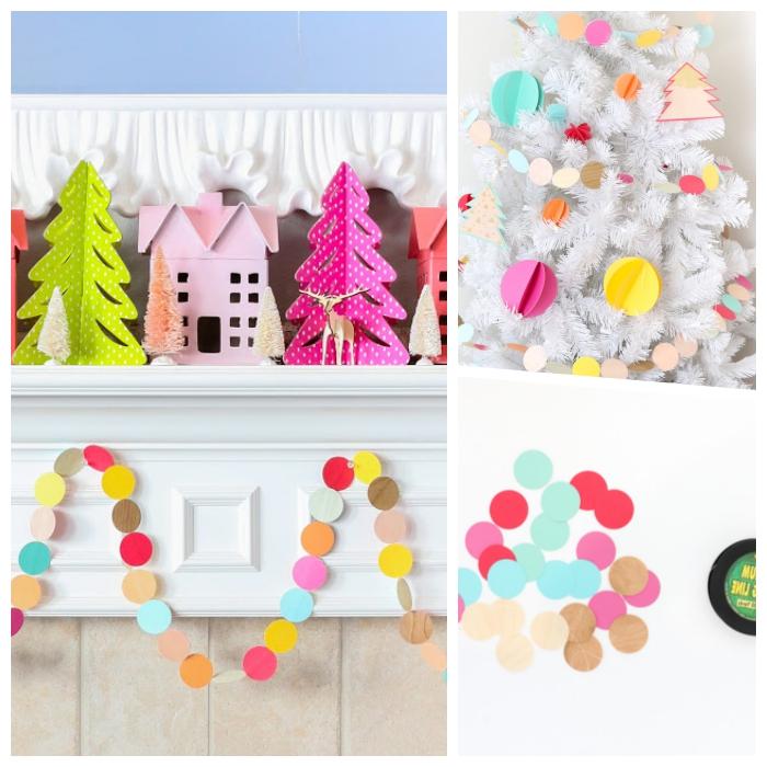papier basteln, weihnachtsdeko selber machen, bunte häuschen, weißer weihanchtsbaum schmücken