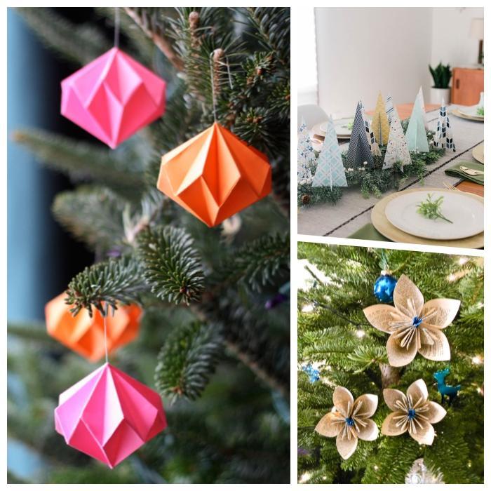 papier basteln, weihnachtsdeko ideen, origami weihnachtskugel, selsbtgemachte dekorationen