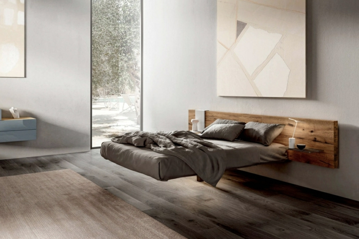 schlafzimmer ideen modern bett aus holz großes bild als wanddeko wände dekorieren boden aus holz