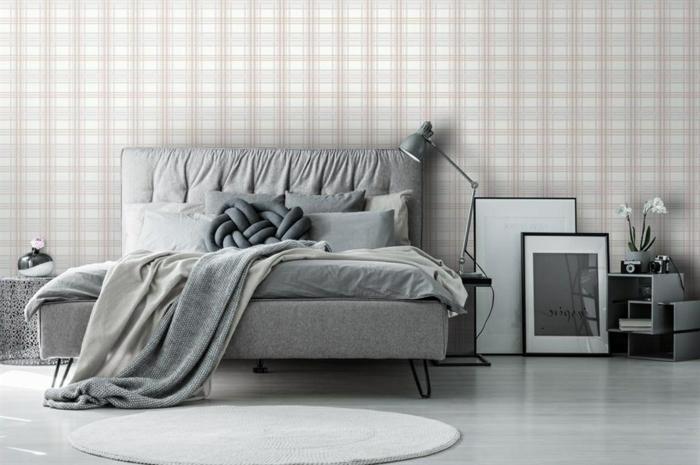 schlafzimmer ideen modern einrichtung in grau und weiß tapete mitgeometrischem muster schlafzimmergestaltung
