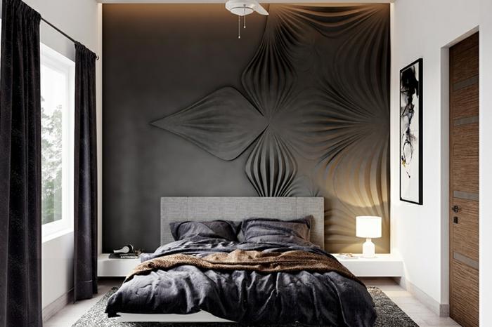 schlafzimmer ideen modern kleines zimmer einrichten und dekroieren graue wand mit blumen muster dunkle vorhänge