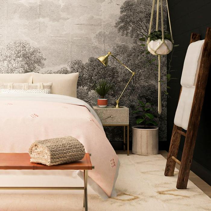 schlafzimmer ideen modern wanddeko ideen graue wandtapete einrichtung in industrial stil schlafzimmerdeko