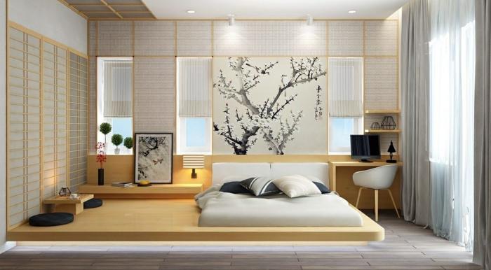 schlafzimmer ideen modern zimmergestaltung in japanischem stil minimalistische einrichtung feng shui wandpaneele