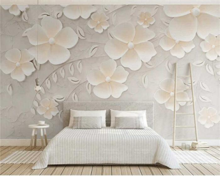 schlafzimmer ideen wandgestaltung außergewöhnliche zimmerdeko große 3d blumen wand dekorieren moderne wanddeko