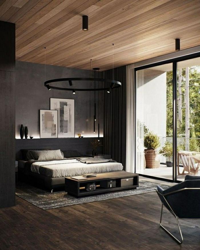 schlafzimmer ideen wandgestaltung einrichtung in dunklen farben boden aus holz wand mit led beleuchtung zimmerdeko