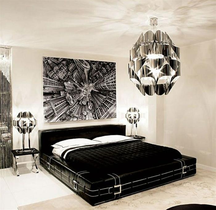 schlafzimmer ideen wandgestaltung großes bild schwarzes bett weiße wände lururiöse designereinrichtung