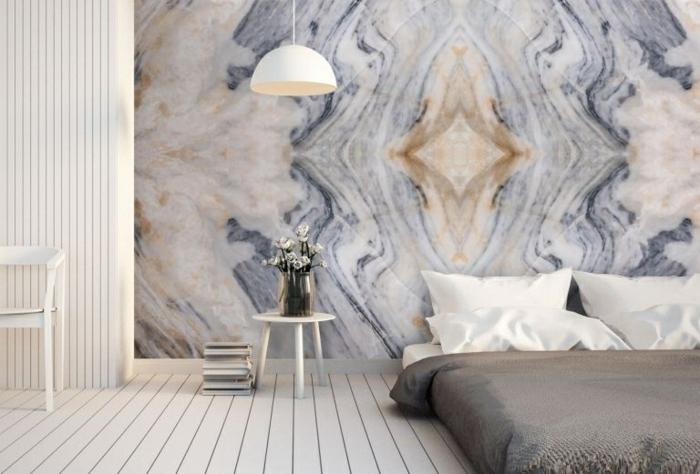 schlafzimmer ideen wandgestaltung in marmor look schlafzimmereinrichtung moderne wanddeko 3d tapete