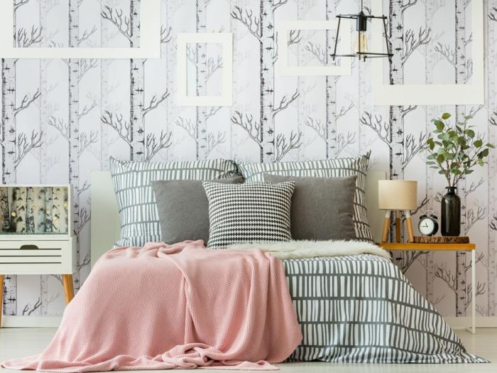 schlafzimmer ideen wandgestaltung wandtapete mit floralen motiven wand dekorieren schlafzimmergestaltung