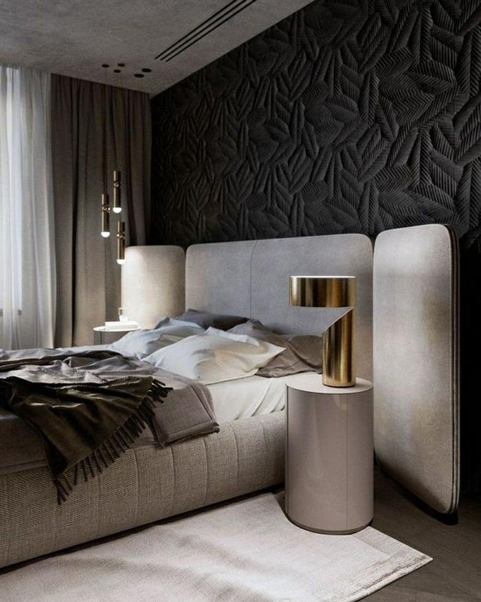 schlafzimmer ideen wandgestaltung zimmer dekorieren zimmereinrichtung ni weiß und schwarz goldene akzente desginer eirnichtung
