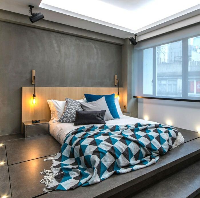 schlafzimmer streichen ideen wand in beton optik kleines zimmer einrichten wandzimmerfarben moderne zimmergestaltung
