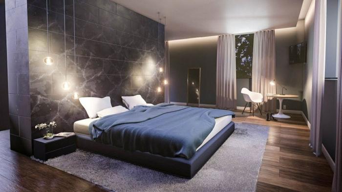 schlafzimmer streichen ideen zimmer dekorieren zimmerbeleuchtung großes bett schwarze wand lila gardinen