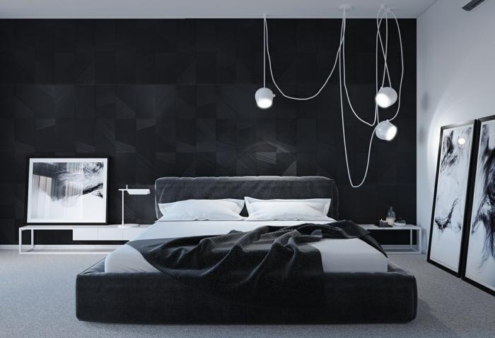 schlafzimmer streichen ideen zimmerdeko in weiß und schwarz hängende lampen große bilder schlafzimmerdeko
