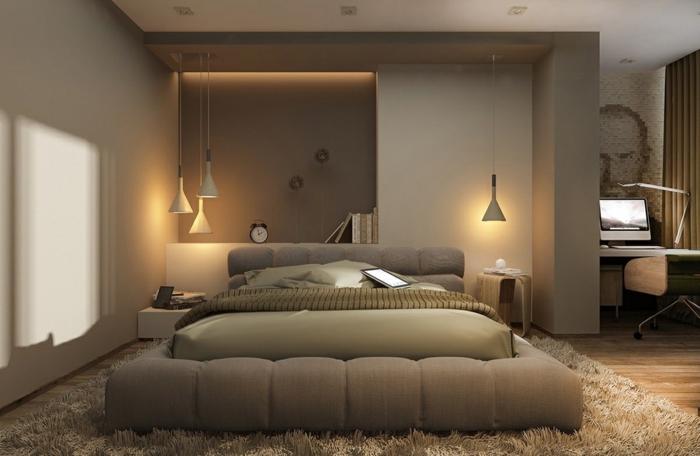 schlafzimmer streichen ideen zimmergestaltung in naturfarben graue wände schlafzimmerbeleuchtung flauschiger teppich