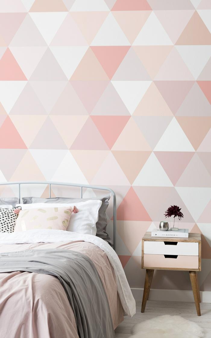 schlafzimmer tapeten ideen geometrische motive wanddeko in weiß und hellrosa schlafzimmerdeko