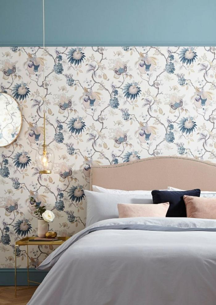 schlafzimmer tapeten ideen kleines zimmer dekorieren wanddeko florale elemente jugendzimmer mädchen