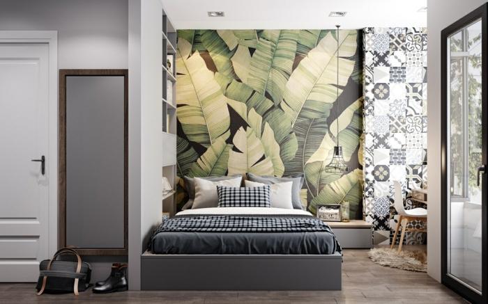 schlafzimmer tapeten ideen zimmer dekorieren wohnung winrichten große blätter tropisches motiv