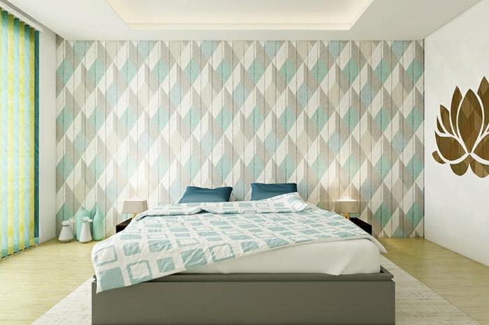 schlafzimmer tapeten ideen zimmergestaltung in hellen farben tapete mit geometrischem motiv
