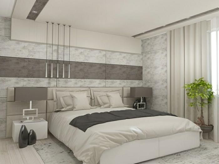 schlafzimmer tapeten ideen zimmergestaltung in weiß und grau moderne einrichtung wohnung dekorieren