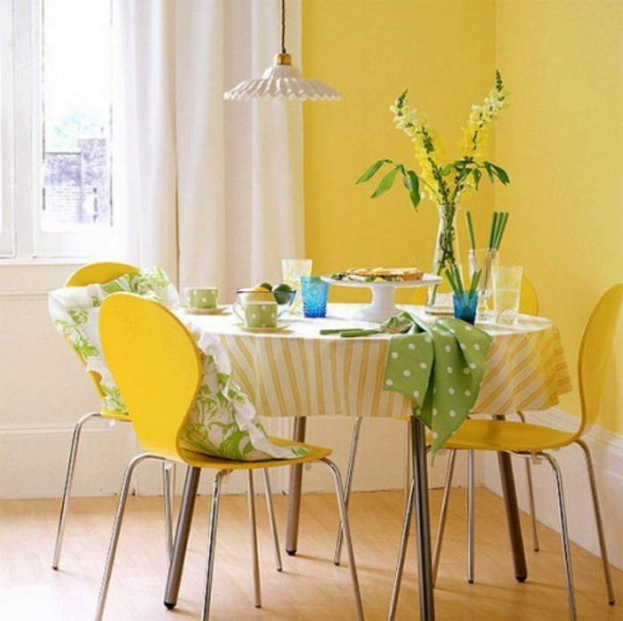 Schön Sehr Schöne Grelle Wandfarben Gelb Im Esszimmer