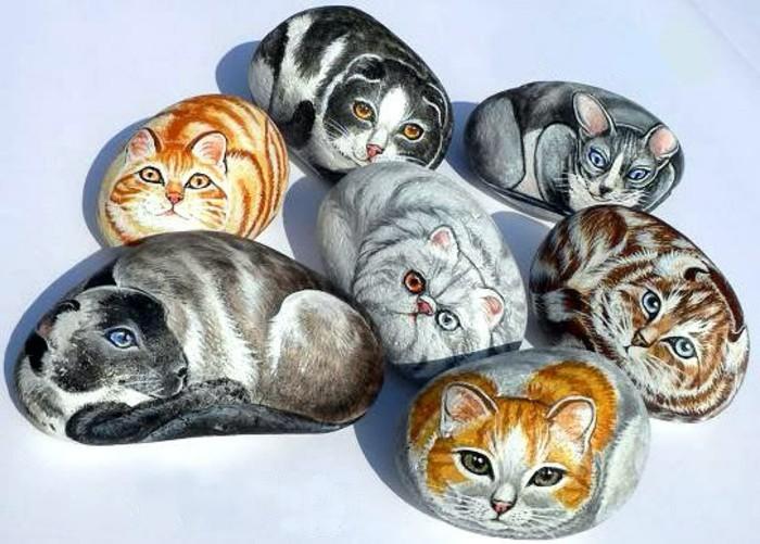 steine-bemalen-verschiedene-katzen-auf-steine-malen