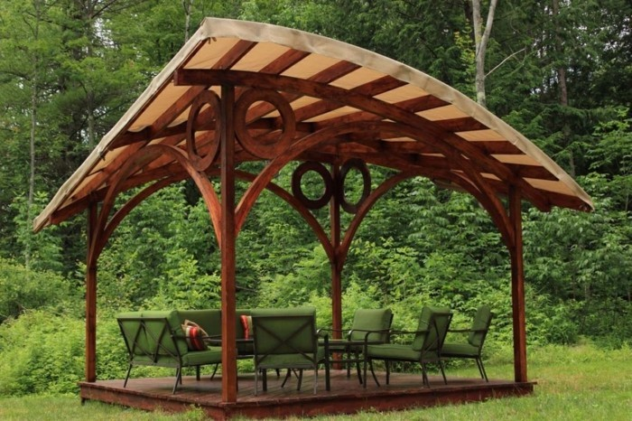 Outdoor Wooden Gazebo 10x10 Traditional Wood Pergola Cedar Stain Round Wooden Gazebo Round Wooden Gazebo - Gazebo IDeas