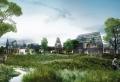 Ein utopisch aussehendes Hightech-Bauerndorf