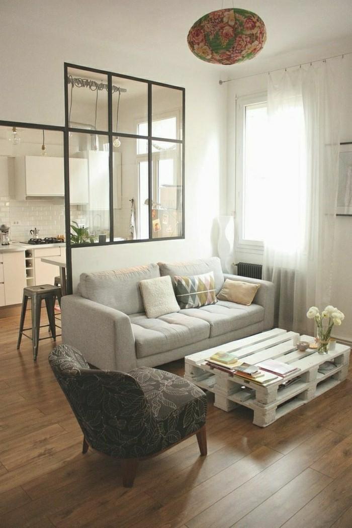 paletten ideen wohnzimmer: gestaltung-wohnraum-und-küche-Couchtisch-selber-bauen-paletten-ideen