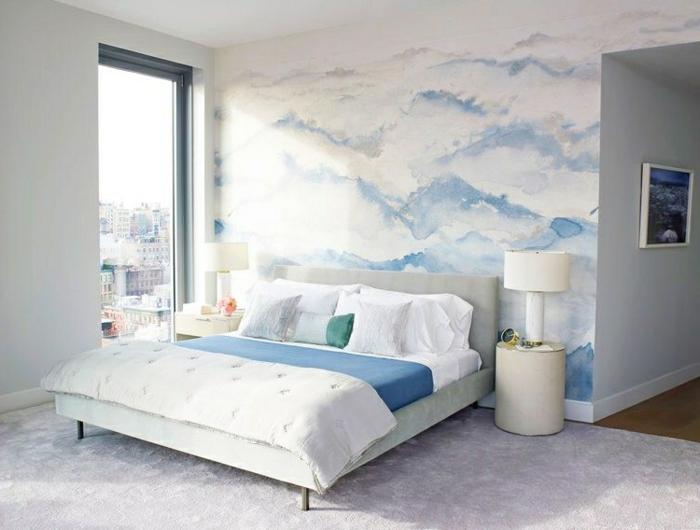 wand streichen ideen schlafzimmer außergewöhnliche wanddeko in weiß und blau wolken wandtapete