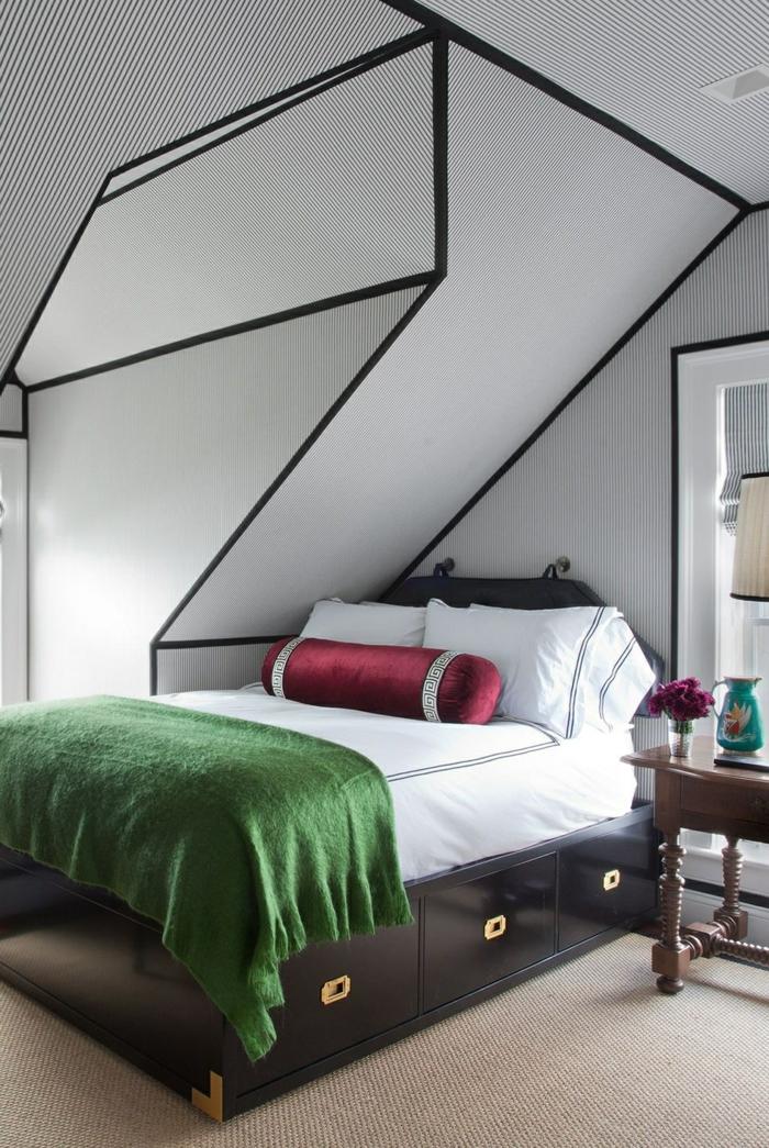 wand streichen ideen schlafzimmer schwarzes bett schräge wände krative zimmerdeko