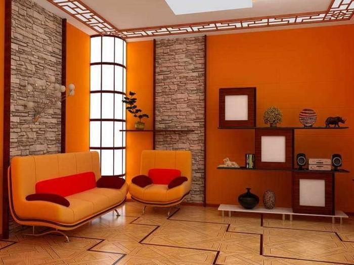 wandfarben-ideen-orange-akzente-und-steinwände