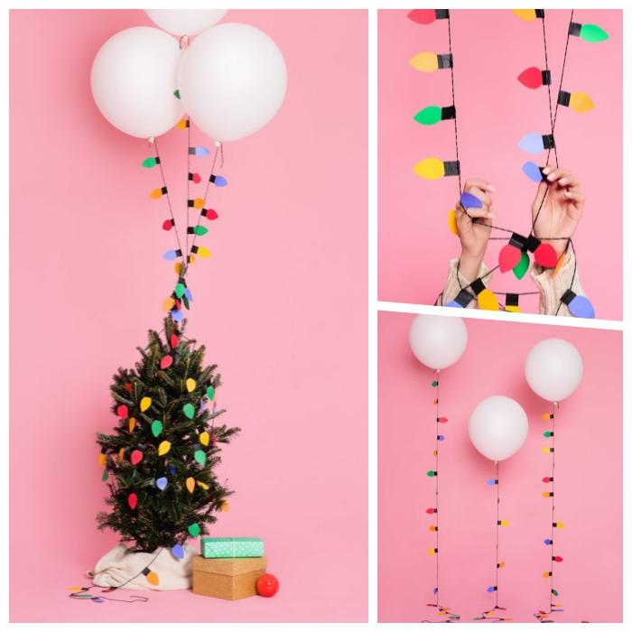 was kann man basteln, diy girlande mit lampen aus buntem papier, licherkette, weiße ballons